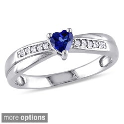 Miadora Sterling Silver Gemstone and Round-cut Diamond Accent Heart Ring