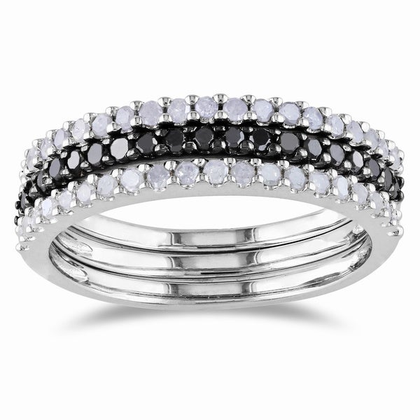 Haylee Jewels Sterling Silver 5/8ct TDW Black and White Diamond Ring Set (H-I, I2-I3)