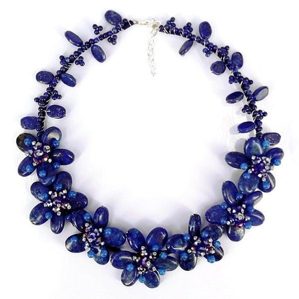 Eternal Blue Garden Lapis Lazuli Floral Necklace (Thailand)