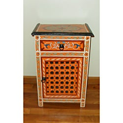 Handpainted Moroccan Arabesque Wooden End Table (Morocco)
