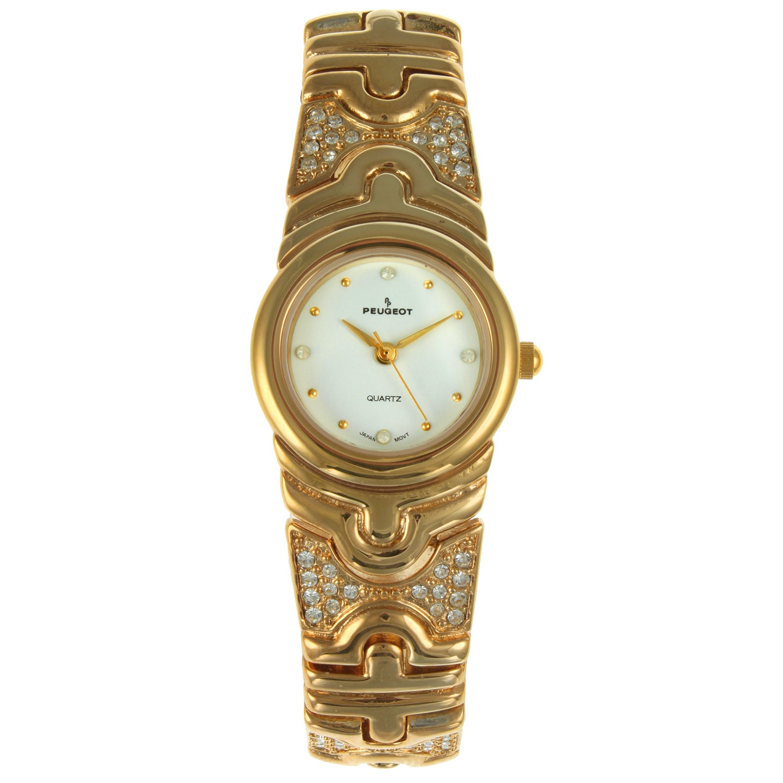 Peugeot Women's Goldtone Crystal Bracelet Watch