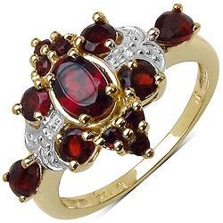 Malaika Sterling Silver Yellow Gold Overlay Red Garnet Ring