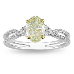 Miadora 18k Gold 1 1/4ct TDW Yellow and White Diamond Ring (G-H, VS1-VS2)