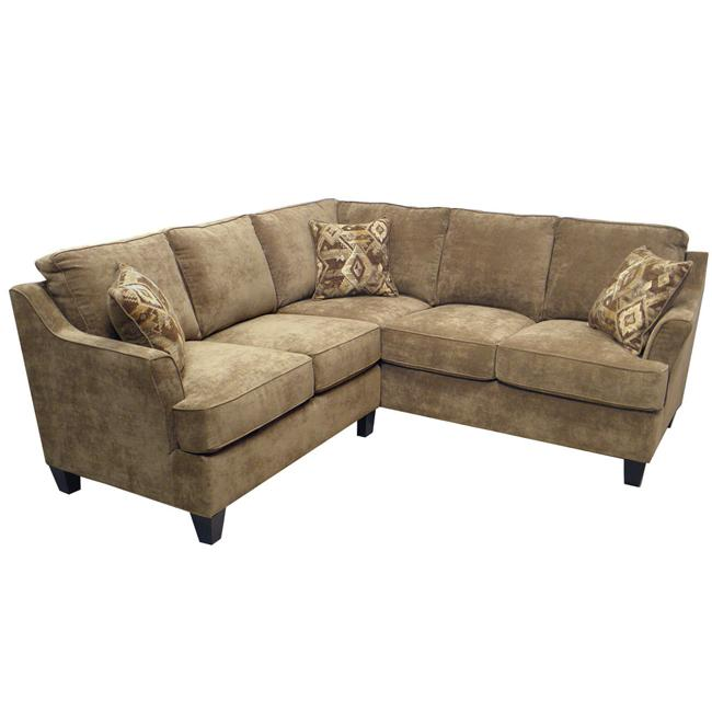 Sandi light brown fabric sectional sofa overstock for Small sectional sofa overstock