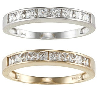 14k Yellow or White Solid Gold 3/4ct TGW Princess-cut Cubic Zirconia Channel Band
