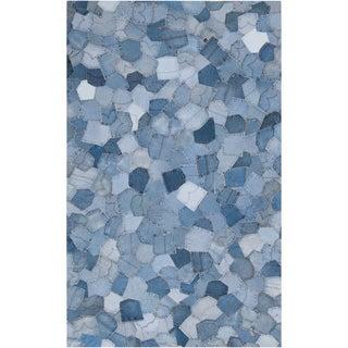 Woven Beid Denim Blue Wool Rug (8' x 11')
