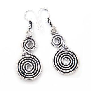 Handmade Silverplate Swirl Earrings (India)