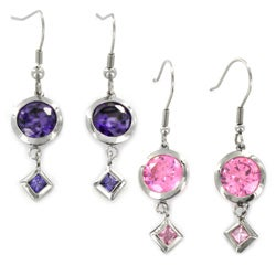 Stainless Steel Colored Cubic Zirconia Dangle Earrings