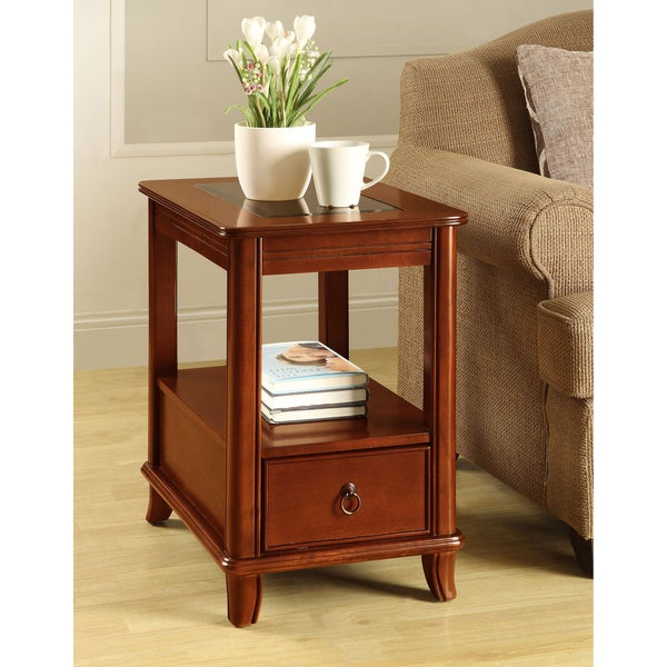 Cherry Glass-top 1-drawer Side Table
