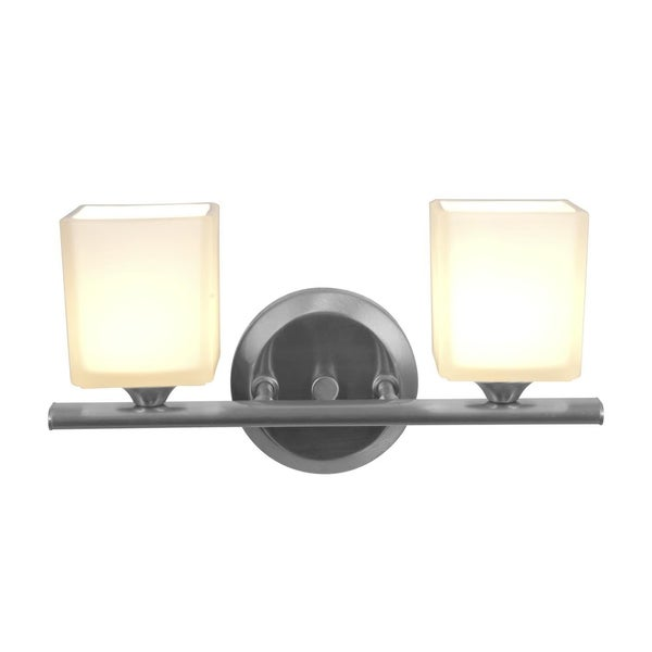 Access 'Hermes' 2-light Brushed Steel Vanity Fixture