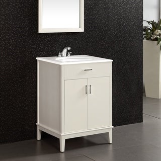 WYNDENHALL Oxford White 24-inch Bath Vanity with 2 Doors and White Quartz Marble Top