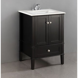 WYNDENHALL Windham Black 24-inch Bath Vanity with 2 Doors, Bottom Drawer and White Quartz Marble Top