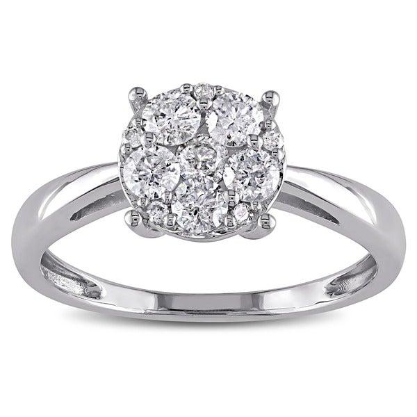 Miadora 10k White Gold 1/10 to 1/2ct TDW Diamond Multi-Round Center Engagement Ring (H-I, I2-I3)