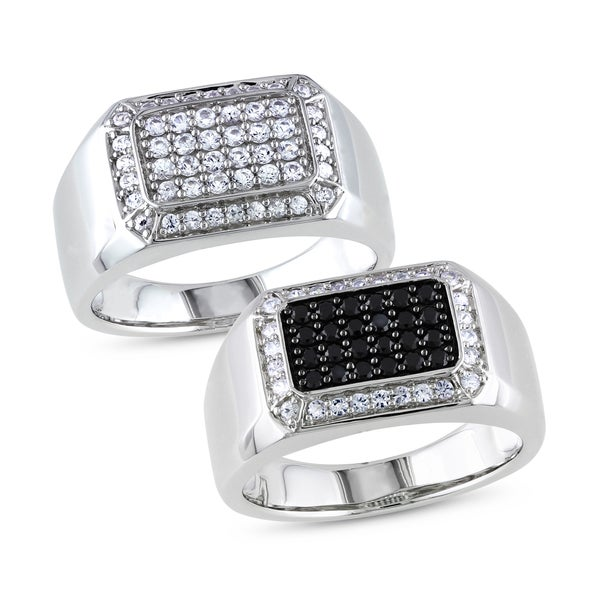 Miadora Sterling Silver Men's Black or White Pave Gemstone Ring