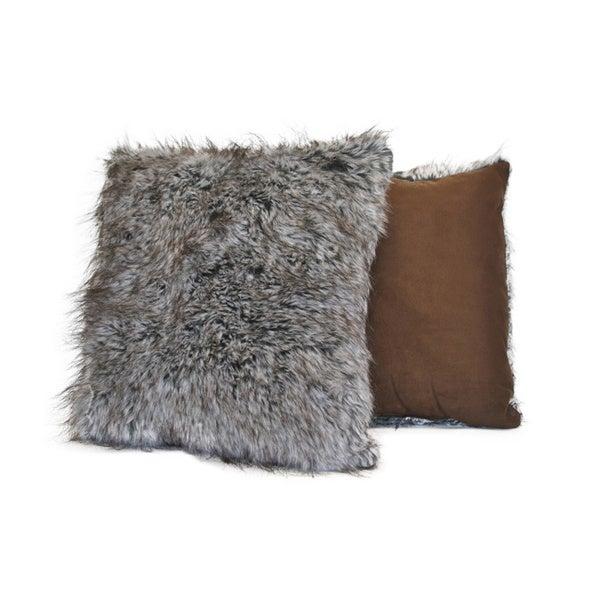Sherry Kline Grey Wolf Faux Fur Decorative Pillow (Set of 2)