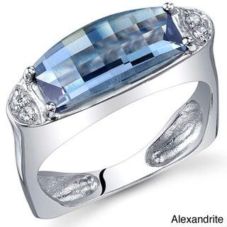 Oravo Sterling Silver Barrel-cut Gemstone Ring