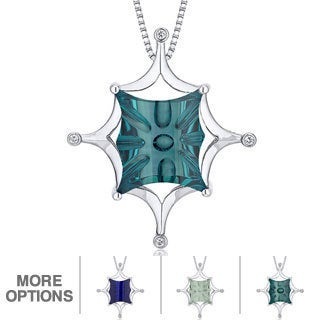 Oravo Sterling Silver Butterfly Gemstone Pendant Necklace