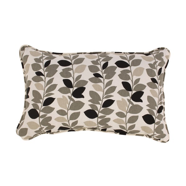 Pillow Perfect Ivy Leaf Rectangular Corded Throw Pillow in Black/ Grey