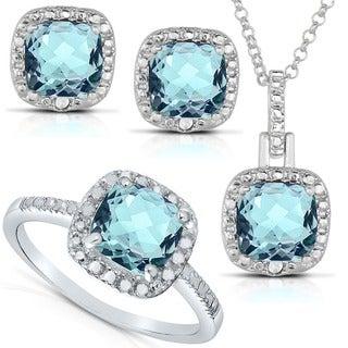 Dolce Giavonna Silver Blue Topaz or Amethyst and 1/8ct TDW Diamond Jewelry Set (I-J, I2-I3)