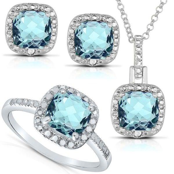 Dolce Giavonna Sterling Silver Gemstone and 1/8ct TDW Diamond Jewelry Set (I-J, I2-I3)