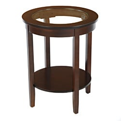 Bianco Collection Espresso Round Glass Top Side Table
