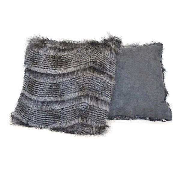Sherry Kline 20-inch Siberian Stripe Grey Faux Fur Decorative Pillows (Set of 2)