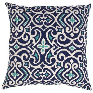 Pillow Perfect Blue/White Damask 23-inch Throw Pillow
