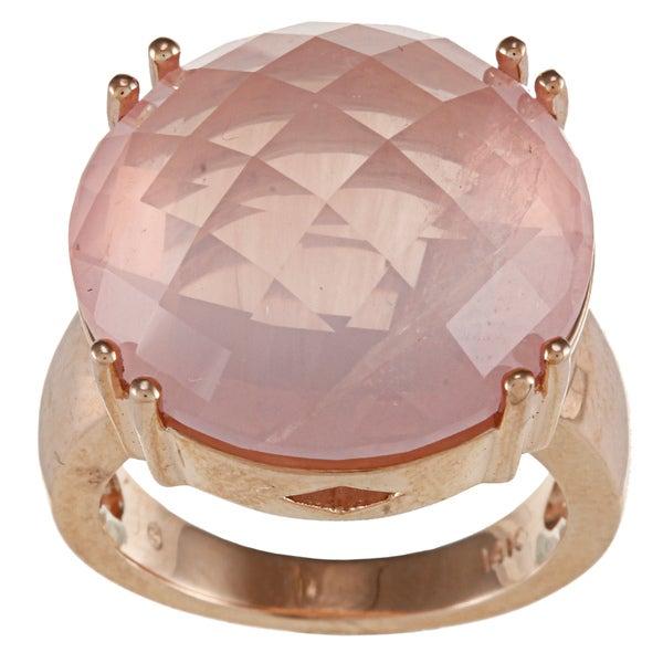 14k Rose Gold 19-mm Pink Quartz Ring