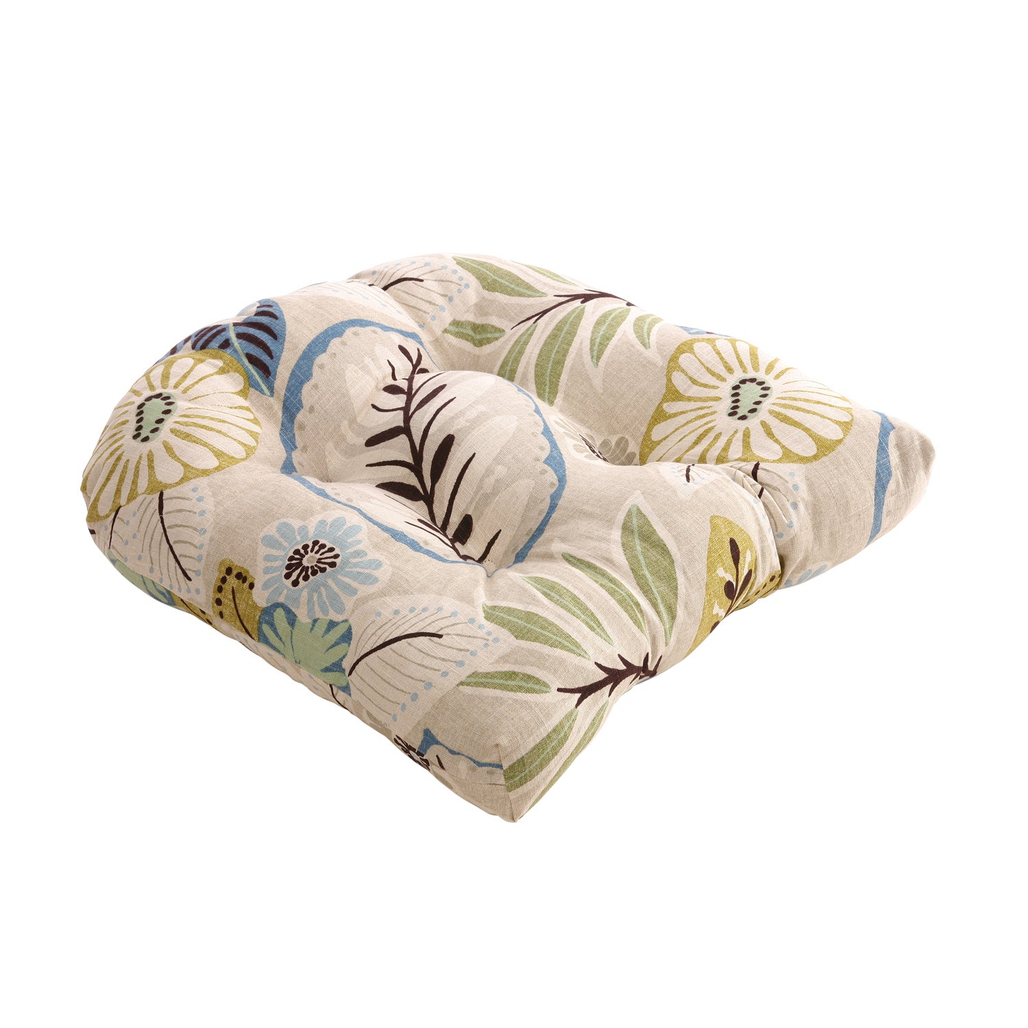 Pillow Perfect Beige/Blue Tropical Chair Cushion