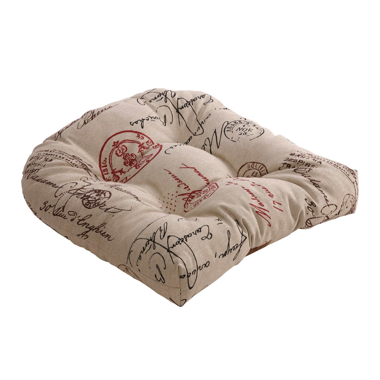Linen/ Red French Postale Chair Cushion