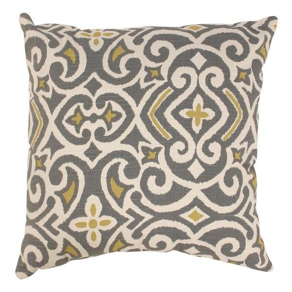Pillow Perfect Grey/ Greenish-Yellow Damask Throw Pillow