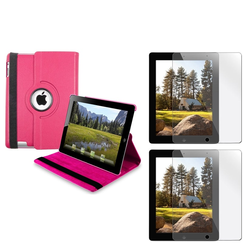 INSTEN Hot Pink Leather Swivel Tablet Case Cover/ Screen Protector Set for Apple iPad 3/ 4