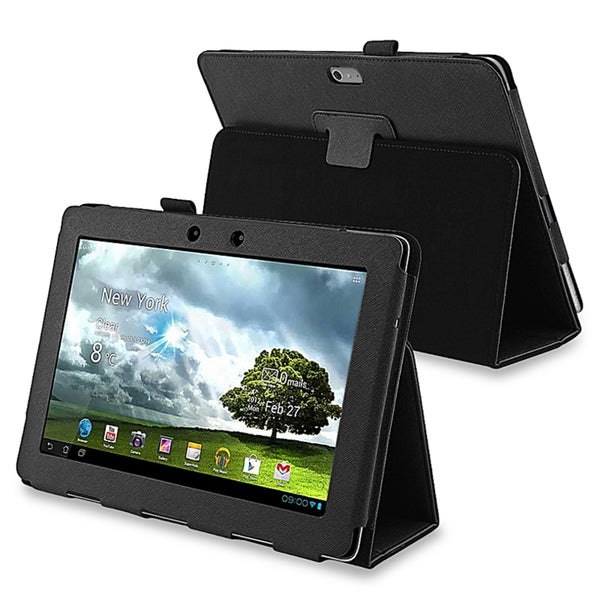 BasAcc Black Leather Case with Stand for Asus Transformer TF700