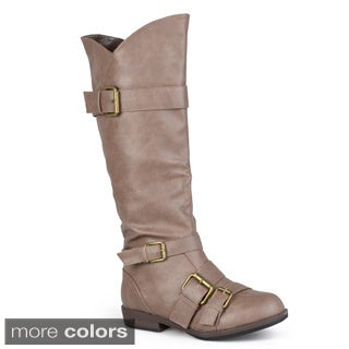 Hailey Jeans Co. Women's 'Rachel' Regular and Wide-calf Knee-high Buckle-strap Riding Boot