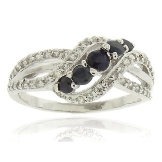 Finesque Sterling Silver 1/2ct TDW Black and White Diamond Ring