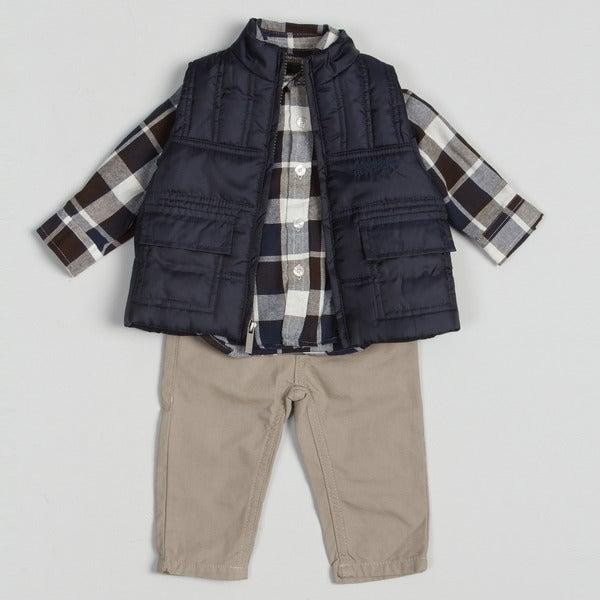 Kenneth Cole Infant Boy's Plaid 3-piece Pant Set