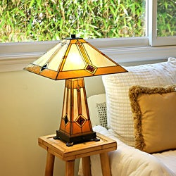 Tiffany Style Golden Mission Table Lamp with Lit Base