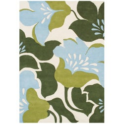 Alliyah Rugs Handmade Hand-tufted Sky Blue/ Leaf Green Flowers New Zealand Blend Wool Rug (9' x 12')