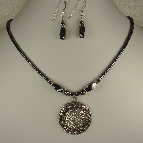 Jewelry by Dawn Hematite With Antique Silver Pewter Necklace And Earring Set