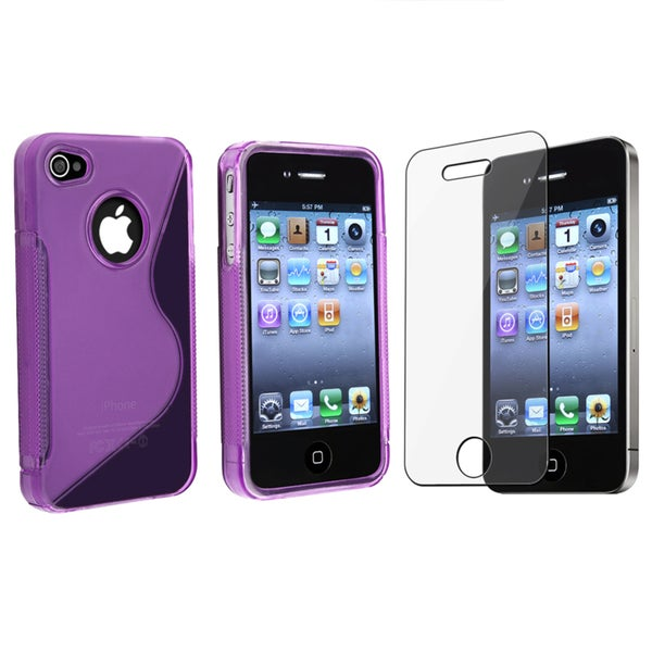 INSTEN Purple TPU Rubber Phone Case Cover/ Screen Protector for Apple iPhone 4/ 4S