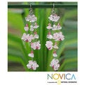 Sterling Silver 'Rosy Rain' Rose Quartz Earrings (Thailand)