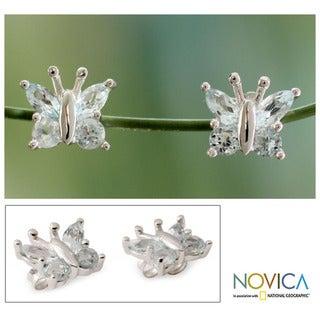 Sterling Silver 'Princess Butterfly' Blue Topaz Earrings  (India)