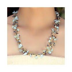 Silk 'Afternoon Sigh' Aquamarine and Pearl Necklace (3 mm) (Thailand)
