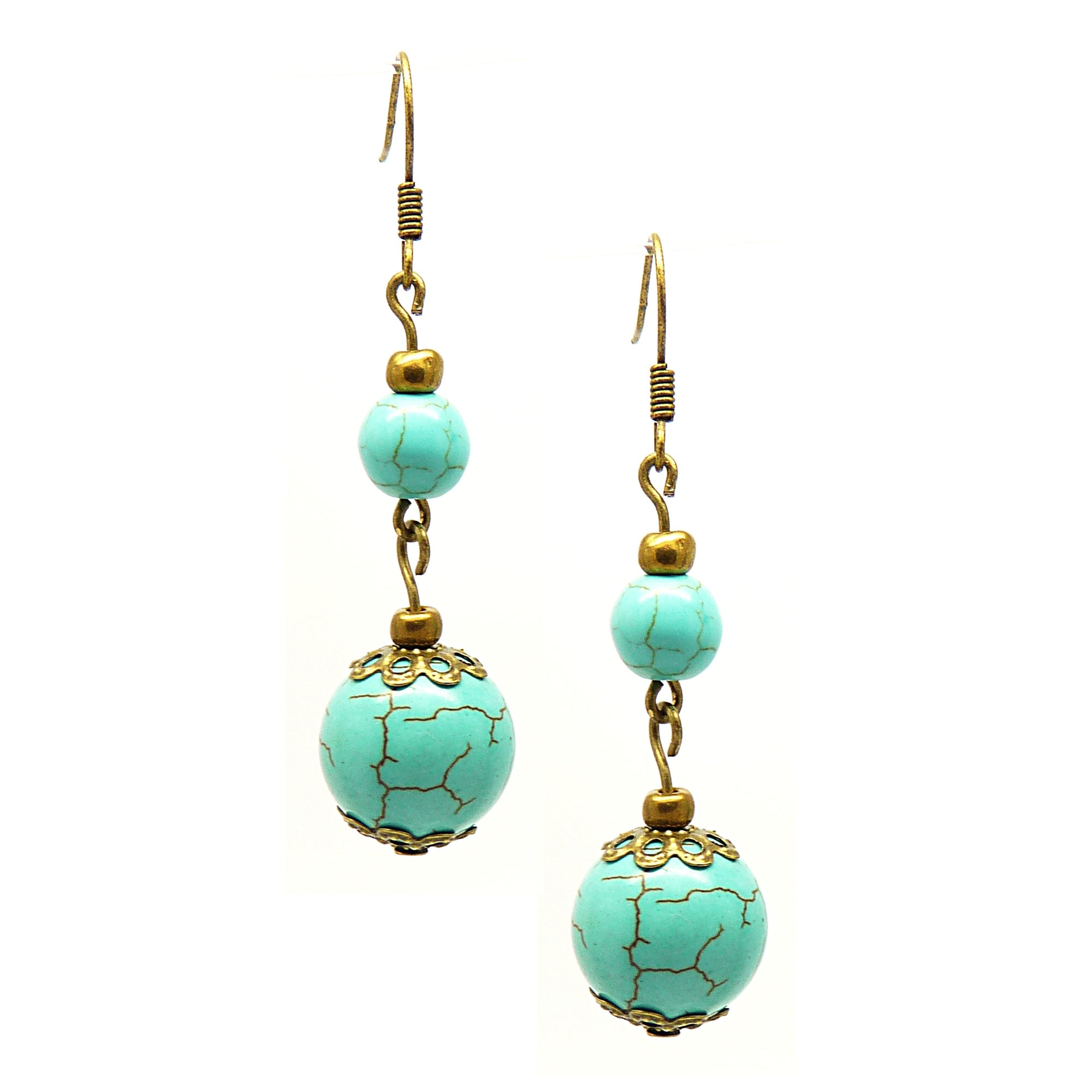 Pretty Little Style Antique Bronze Turquoise Dangle Earrings
