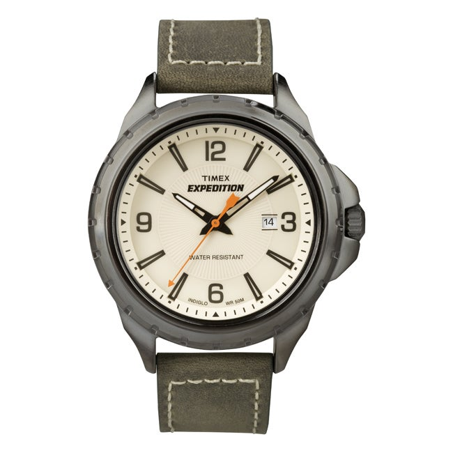 Timex Men's T49909 Expedition Rugged Field Olive Green Leather Strap Watch