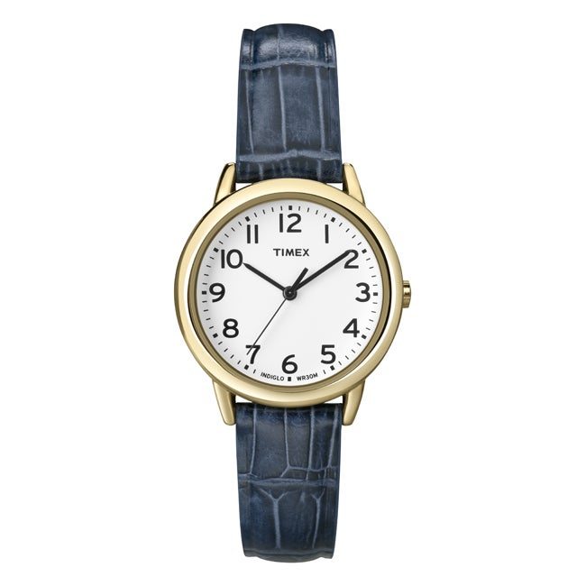 Timex Women's T2N954 Elevated Classics Dress Goldtone Case Leather Strap Watch
