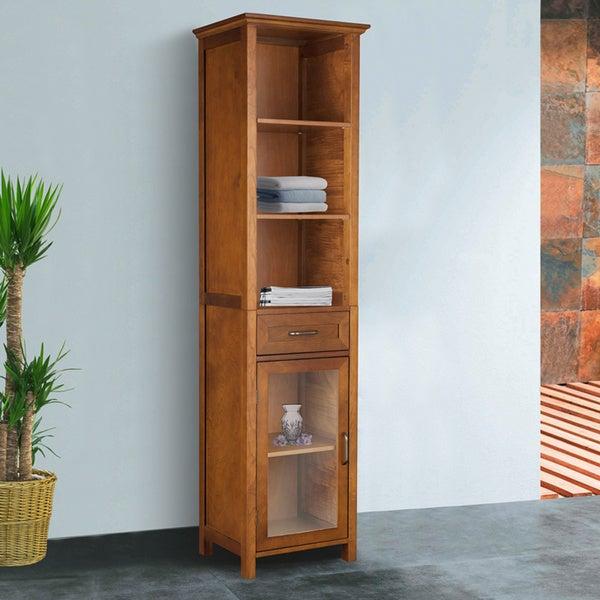 Chamberlain Oak-Finish Linen Tower Storage Cabinet
