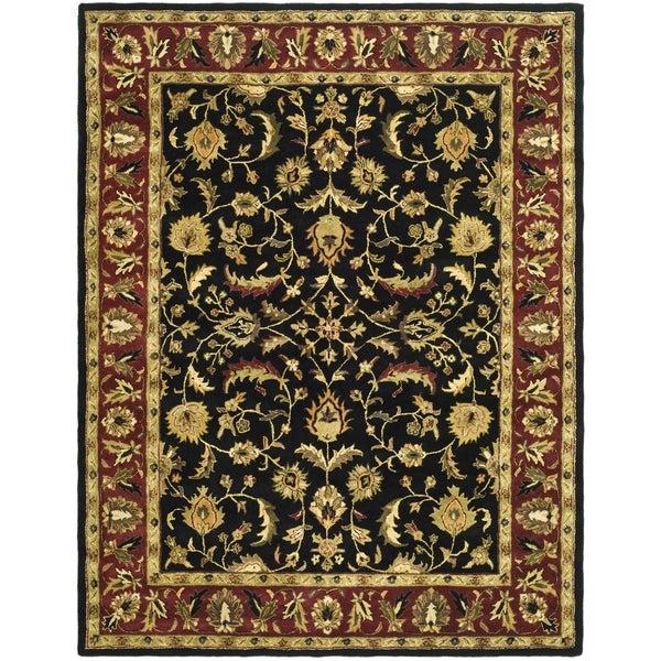 Safavieh Handmade Heritage Heirloom Black/ Red Wool Rug (9' x 12')