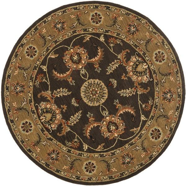 Safavieh Handmade Tabriz Brown/ Beige Wool Rug (6' Round)