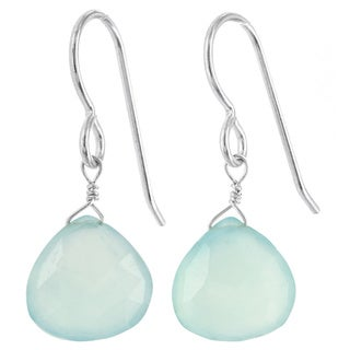 Ashanti Aqua Blue Genuine Chalcedony Gemstone Sterling Silver Earrings (Sri Lanka)